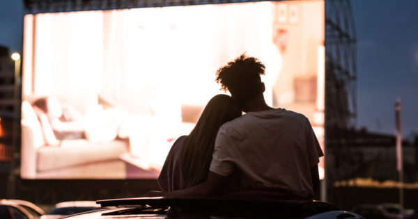 Couple at the drive - in